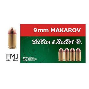 Sellier & Bellot 9x18mm Makarov Ammunition 50 Rounds FMJ 95 Grains SB9MAK