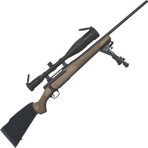 """Mossberg Patriot Night Train 6.5 Creedmoor Bolt Action Rifle 24"""" Fluted Barrel 5 Rounds 6-24x50mm Scope FDE Synthetic Stock Matte Blue Finish"""