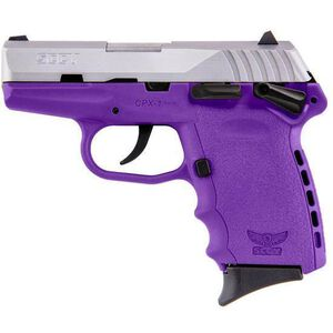 "SCCY Industries CPX-1 Semi Auto Handgun 9mm Luger 3.1"" Barrel 10 Rounds Purple Polymer Frame with Satin Stainless Steel Finish CPX-1TTPU"
