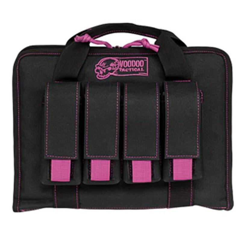 "Voodoo Tactical Pistol Case with Magazine Pouches 12"" x 9"" x 2"" Full Padding Nylon Black Purple"