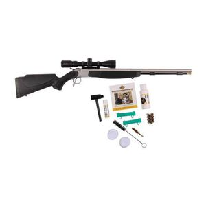 "CVA Optima V2 Outfit Break Action Black Powder Rifle KonusPro 3-9x40 .50 Caliber 26"" Fluted Barrel Dead On Scope Mount Black Synthetic Stock Stainless Finish"