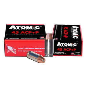 Atomic .45 ACP +P Ammunition 185 Grain Bonded Match Hollow Point 1225fps