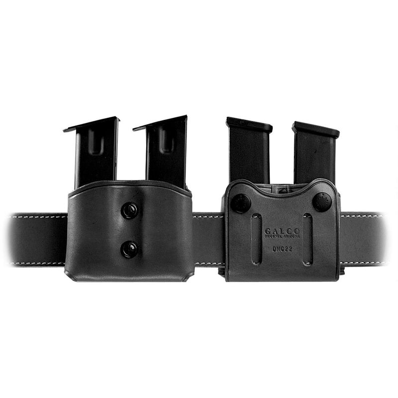 Galco DMC Double Mag Carrier for 1911, P220 Single Stack 45, Black Leather