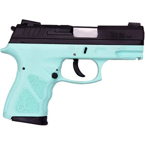 "Taurus TH9c 9mm Luger Compact Semi Auto Pistol 3.5"" Barrel 17 Rounds Novak Style Sights Thumb Safety Cyan Polymer Frame Black Finish"