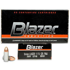 CCI Blazer 9mm Luger Ammunition 50 Rounds FMJ 115 Grains 3509