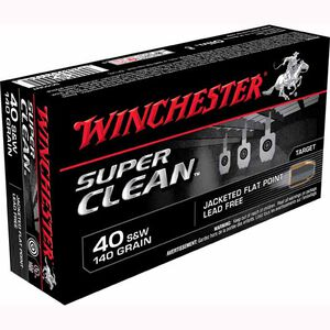 Winchester Super Clean .40 S&W Ammunition 50 Rounds, Lead Free JFP J, 140 Grain
