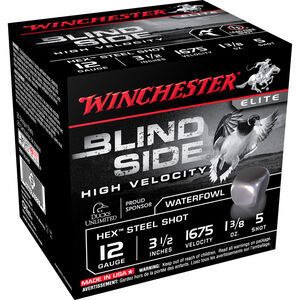 "Winchester Blind Side High Velocity 12 Gauge Ammunition 25 Round Box 3-1/2"" #5 Hex Steel Shot 1-3/8 oz 1675 fps"