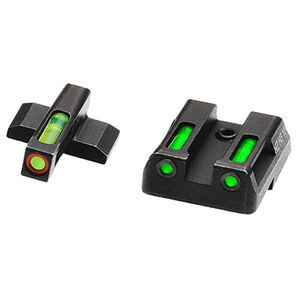 HiViz Litewave H3 Tritium/Litepipe fits HK VP/P30/HK45 Models Green Front Sight with Orange Front Ring/Green Rear Sight Steel Housing Matte Black