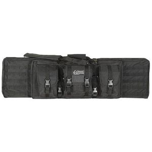 """Voodoo Tactical Enhanced Padded Rifle Weapon Case Single/Double Gun 42"""" MOLLE Soft Case Matte Black Finish"""