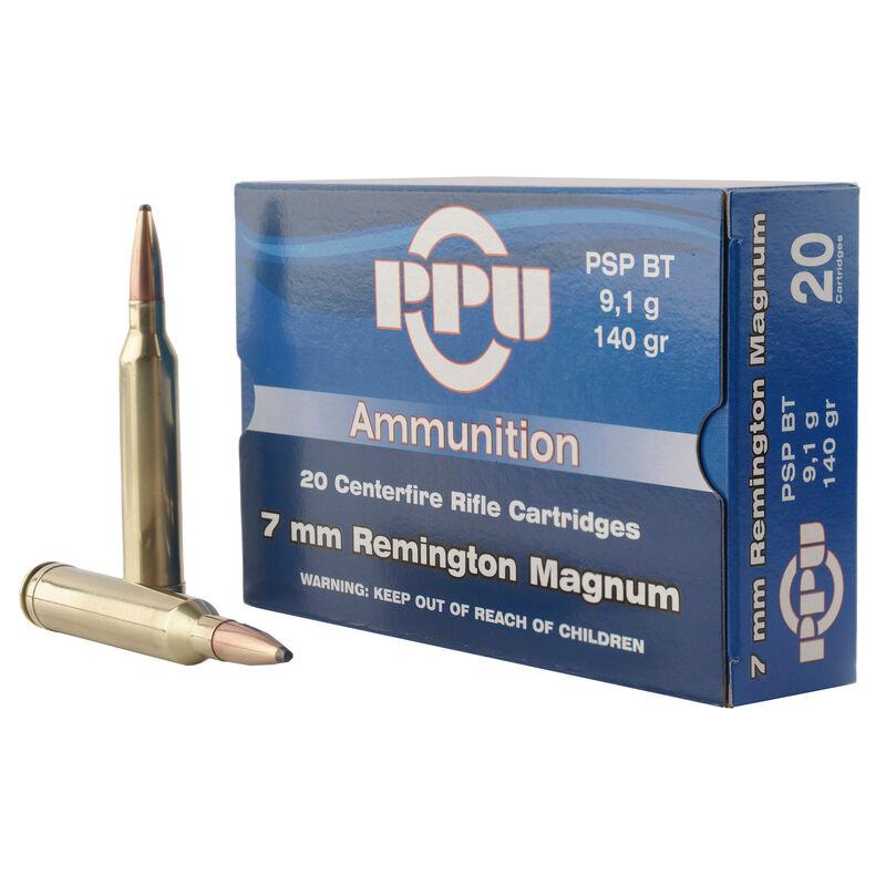 Prvi Partizan PPU 7mm Remington Magnum Ammunition 20 Rounds 140 Grain Pointed Soft Point Boat Tail 3110fps