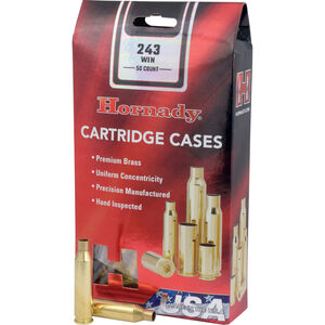 Hornady .243 Winchester 50 Unprimed Brass Cartridge Cases