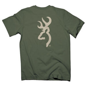 Browning Men's T-Shirt Cream Buckmark Large Kelly Green