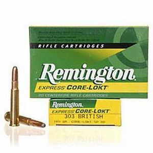 Remington Express .303 British Ammunition 20 Rounds 180 Grain Core-Lokt Soft Point Projectile 2460fps