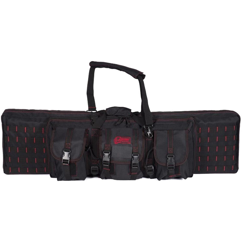 "Voodoo Tactical 42"" Padded Weapons Case 42""x5.5""x12"" Holds 2 Rifles and 2 Handguns MOLLE Compatible Webbing Durable Synthetic Fabric Black/Red"