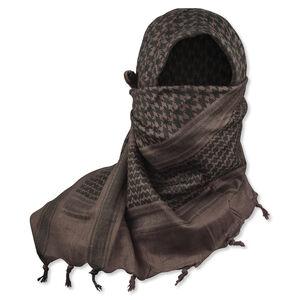 "5IVE Star Shemagh Desert Scarf Cotton Mocha Black 42x42"""