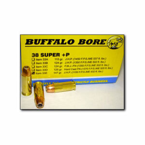 Buffalo Bore .38 Super +P Ammunition 20 Rounds JHP 147 Grains 33E/20