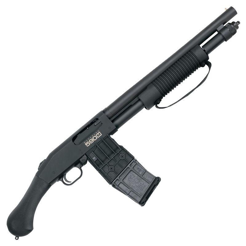 "Mossberg 590M Shockwave Mag-Fed Pump Action Shotgun 12 Gauge 15"" Heavy Walled Barrel 11 Round DBM Bead Sight Cylinder Bore Raptor Birds Head Pistol Grip Matte Blue Finish"