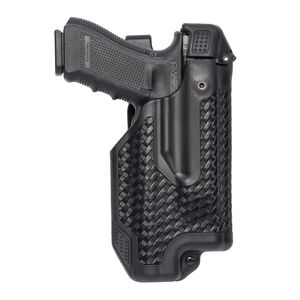 BLACKHAWK! Epoch Level 3 Duty Holster For GLOCK 17/19/22/23 With Light Right Hand Polymer Black 44E000BW-R