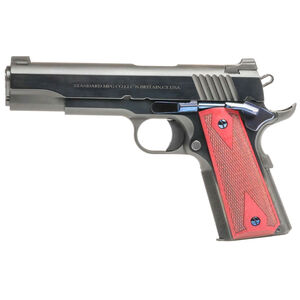 """Standard Manufacturing 1911 .45 ACP Semi Auto Pistol 5"""" Stainless Steel Match Barrel Tactical Sights Rosewood Double Diamond Grips Royal Blue Finish"""