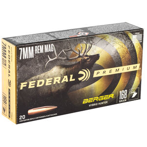 Federal Premium Berger Hybrid Hunter 7mm Rem Mag Ammunition 20 Rounds 168 Grain Berger Hybrid 2870fps