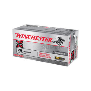 Winchester Super X .22LR Ammunition 40 Grain Copper Plated Power-Point HP 1280 fps