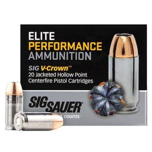 SIG Sauer 10mm Auto Ammunition 20 Rounds, V-Crown JHP, 180 Grain