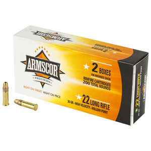 Armscor .22 Long Rifle Ammunition 200 Rounds 36 Grain High Velocity Hollow Point 1247fps