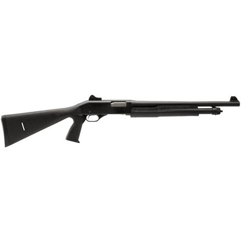 """Stevens 320 Security 12 Gauge Pump Action Shotgun 18.5"""" Barrel 3"""" Chamber 5 Rounds Ghost Ring Sights Black Synthetic Stock with Vertical Pistol Grip Black"""