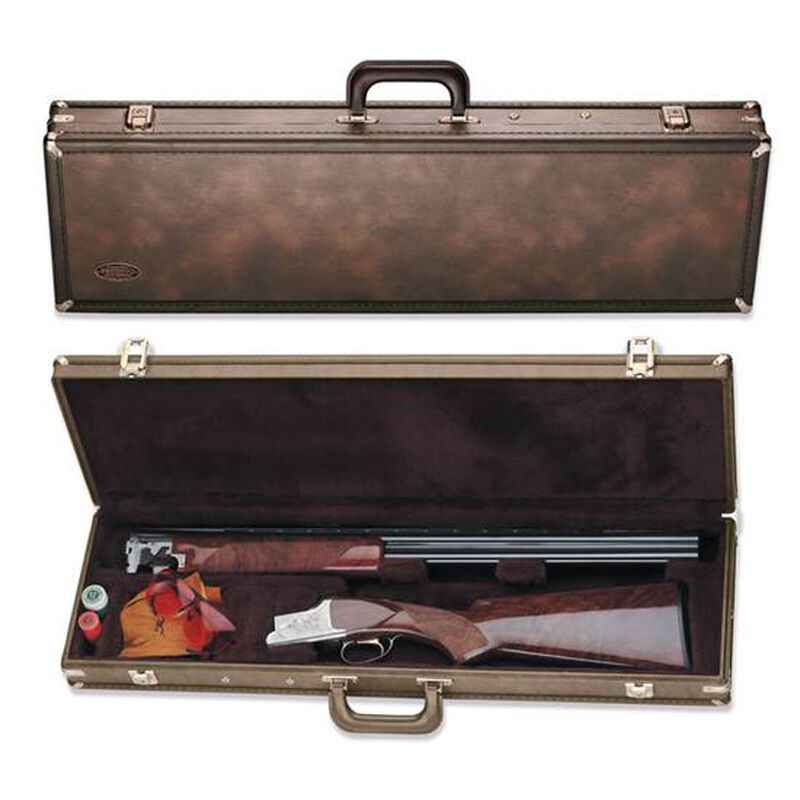 "Browning Traditional Fitted Over/Under Shotgun Luggage Case 30"" Shotguns Foam Padded Shaped Compartment Wood Frame Vinyl Shell Brown"