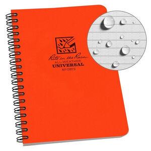 """Rite in the Rain All-Weather Side Spiral Notebook 4.625"""" x 7"""" Polydura Blaze Orange"""