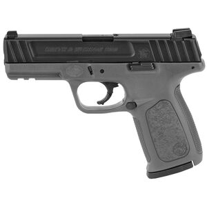 "Smith & Wesson SD9 9mm Luger Semi Auto Pistol 4"" Barrel 16 Round White Dot Sights Accessory Rail Polymer Frame Black Slide/Gray Frame Finish"