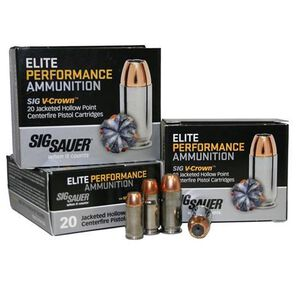 SIG Sauer Elite Performance .380 ACP Ammunition 90 Grain V-Crown JHP 980 fps