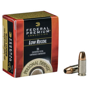 Federal Personal Defense 9mm Luger Ammunition 20 Rounds Hydra-Shock Low Recoil JHP 135 Grains PD9HS5H