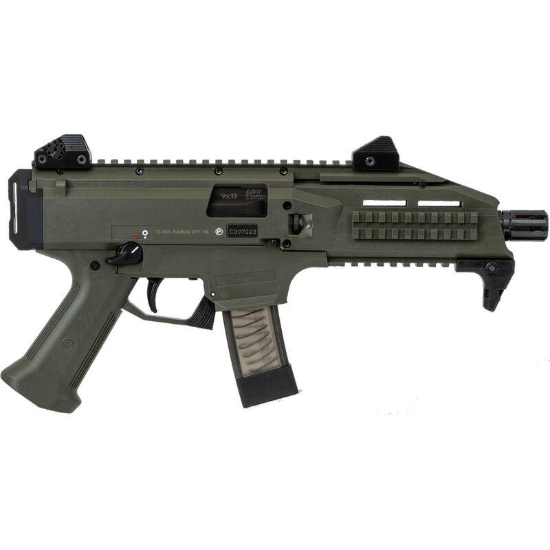 "CZ Scorpion EVO 3 S1 Pistol Semi Auto Pistol 9mm Luger 7.72"" Barrel 10 Rounds Low Profile Fully Adjustable Aperture/Post Fiber-Reinforced Polymer Frame OD Green"