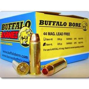 Buffalo Bore Heavy .44 Remington Magnum Ammunition 20 Rounds Barnes XPB 225 Grain 4L/20
