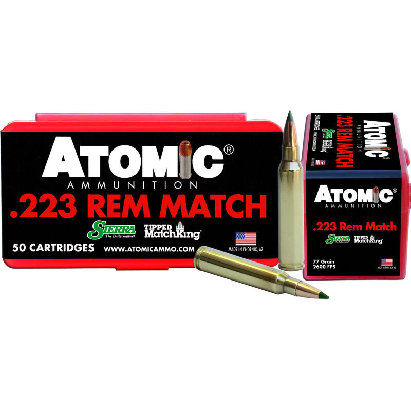Atomic  223 Remington Ammunition 50 Rounds 77 Grain Sierra Tipped MatchKing  Polymer Tipped Boat Tail Hollow Point 2600fps