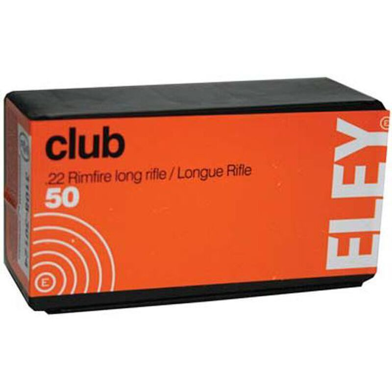 Eley Club Ammunition 22 Long Rifle 40 Grain Lead Round Nose 50 Round Box
