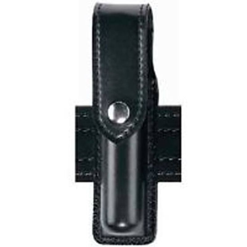 "Safariland Model 38 OC Spray Holder Standard Top Flap 1.5""x5.5""-6.5"" SafariLaminate Brass Snap Closure High Gloss Black 38-9B"
