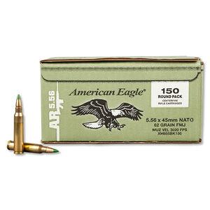 Federal American Eagle 5.56 NATO Ammunition XM855 FMJ 62 Grains