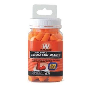 Walkers Game Disposable Ear Foam Ear Plug -32dB Noise Reduction Rating 100 Total Plugs GWP-FP-50PK