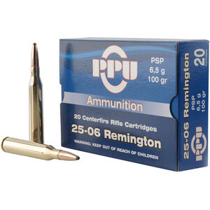 Prvi Partizan PPU Standard .25-06 Rem Ammunition 20 Rounds 100 Grain PSP 3230fps