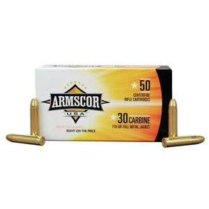 Armscor USA .30 Carbine Ammunition 50 Rounds FMJ 110 Grains F AC 30C-1N