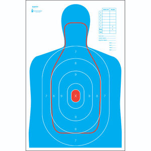 """Action Target B-27E and FBI Q Combination Target 23"""" x 35"""" Paper Blue with Red 100 Pack"""