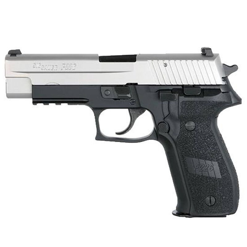 """SIG Sauer P226 Two-Tone Semi Auto Handgun 9mm Luger 4.4"""" Barrel 10 Rounds SIGLITE Night Sights Polymer Grips Anodized Black Frame Stainless Slide 226RM-9-TSS"""