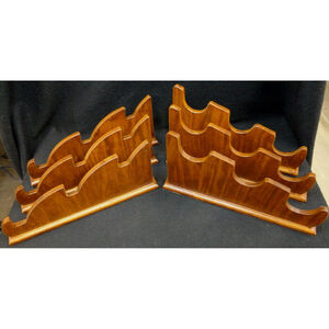 "Custom, Handmade Universal Wooden Two Piece Rack Holds Three Rifles, Shotguns, or Swords 2.25"" Wide Base"