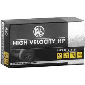RWS High Velocity HP .22 LR Ammunition 40 Grain Plated HP 1263 fps