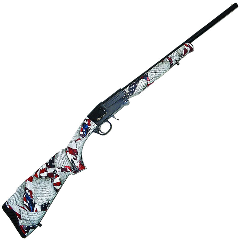 "Midland Backpack US Constitution 20 Gauge Single Shot Break Action Shotgun 26"" Barrel 3"" Chamber 1 Round Foldable Design Constitution Camo Synthetic Stock Black Finish"