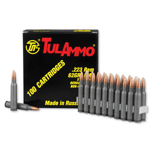 TulAmmo .223 Remington Ammunition, 100 Rounds, Steel Case FMJ, 62 Grains
