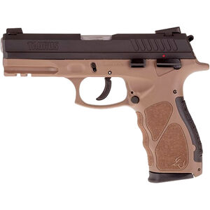 "Taurus TH9 9mm Luger Full Size Semi Auto Pistol 4.25"" Barrel 17 Rounds Novak Style Sights Ambidextrous Safety Brown Polymer Frame Black Finish"