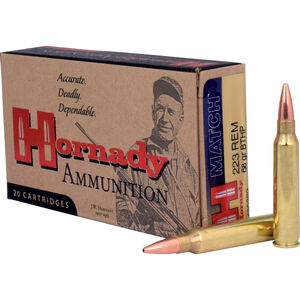 Hornady Match .223 Remington Ammunition 20 Rounds BTHP 68 Grains 80289